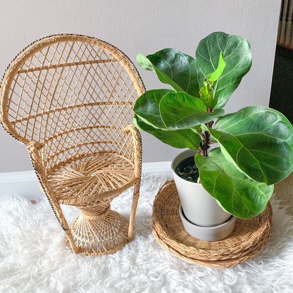 Vintage Boho Wicker Plant Stand Doll Chair